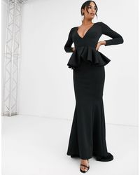 True Violet Label Long Sleeve Plunge Maxi Dress With Peplum - Black