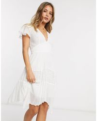 French Connection Lace Pleated Hankerchief Hem Mini Dress - White