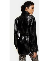 TOPSHOP Croc Effect Faux Leather Belted Shacket - Black