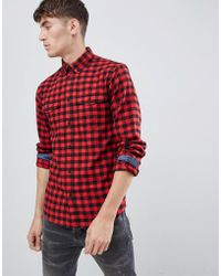 Solid Buffalo Check Shirt In Red