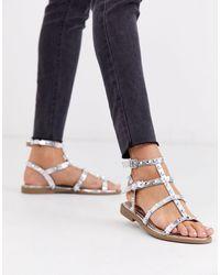 Missguided Studded Gladiator Sandals - Metallic