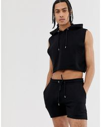ASOS – er, ungesäumter Trainingsanzug mit kurzärmliger Kapuzenjacke und kurzen Shorts - Schwarz