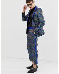 ASOS – Schmal und kurz geschnittene Jacquard-Smokinghose mit buntfarbigem Zickzackmuster - Blau