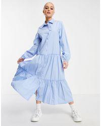 Stradivarius Голубое Поплиновое Платье-рубашка Миди -голубой - Синий