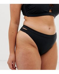 Simply Be Hipster Bikini Bottoms With Cut Out In Black