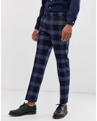 Moss Bros Moss London Slim Fit Suit Trouser - Blue