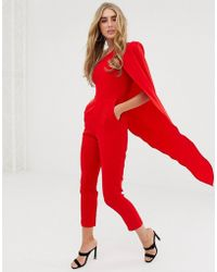 ef0c45851aa4 Lavish Alice - One Shoulder Cape Tailored Jumpsuit In Red - Lyst