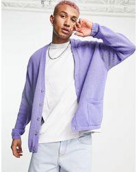 ASOS Бледно-фиолетовый Кардиган Из Трикотажа Средней Плотности На Пуговицах - Пурпурный