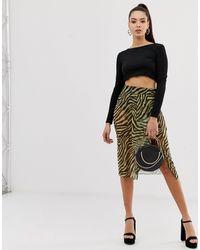 ASOS Animal Print Sheer Midi Skirt With Pant - Multicolor