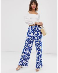 Ichi Floral Trousers - Blue