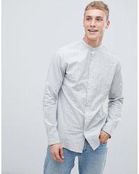SELECTED Slim Fit Mandarin Collar Shirt With Faint Stripe - Gray