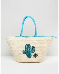 South Beach - Straw Beach Bag With Cactus Print - Lyst