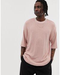b4e1d72821662 ASOS - T-shirt gaufr long oversize manches mi-longues - Lyst
