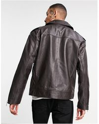 ASOS Veste en cuir avec matelassage - Marron
