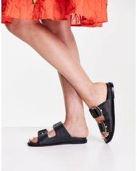 Vero Moda Черные Кожаные Сандалии С Пряжками -черный Цвет