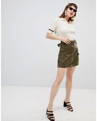 Mango - Zip Detail Utility Skirt In Khaki - Lyst