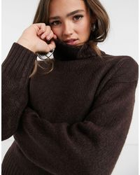 New Look Крупный Джемпер С Высоким Горлом Шоколадно-коричневого Цвета -коричневый