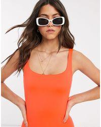 Weekday Bañador naranja intenso con cuello ancho en tejido
