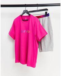 Calvin Klein Pijama rosa y gris - Multicolor