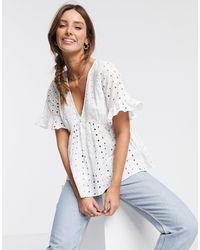ASOS Broderie Smock Top With Fluted Sleeve - White
