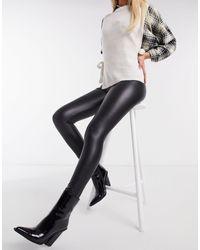 Hollister – e Leggings aus Kunstleder mit hohem Bund - Schwarz