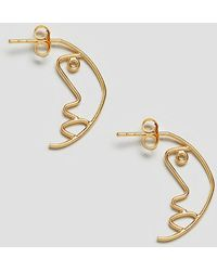 ASOS | Gold Plated Sterling Silver Face Profile Earrings | Lyst