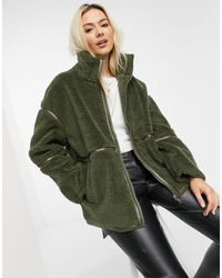 ASOS Sherpa Zip Up Jacket With Patent Binding - Green