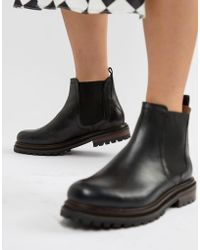 Hudson Jeans London Black Leather Chunky Chelsea Boots
