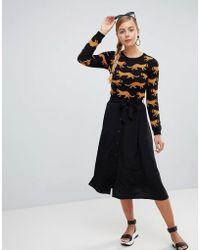 Monki - Tie Waist Button Up Midi Skirt - Lyst