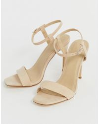 Truffle Collection Stiletto Barely There Square Toe Heeled Sandals - Natural