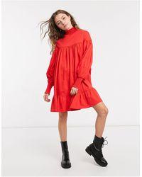 ASOS Vestito grembiule corto accollato rosso con polsini arricciati