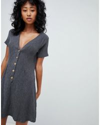 Pull&Bear - Button Front Crinkle Dress In Grey - Lyst