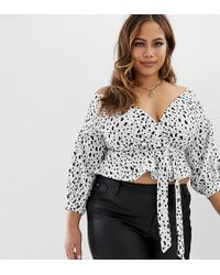 Boohoo Off Shoulder Top In Dalmation - White