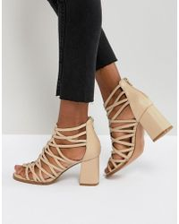 cc89786b68 ASOS Asos Hacker Studded Heeled Sandals in Natural - Lyst