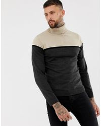 Boohoo - Color Block Roll Neck Sweater In Taupe - Lyst