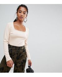 Boohoo - Square Neck Body In Nude - Lyst