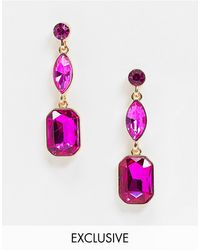 Accessorize Exclusive Jewel Drop Earring - Pink