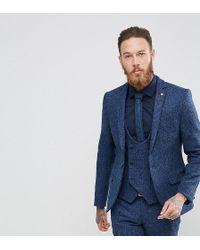 Noose And Monkey Harris Tweed Super Skinny Suit Jacket In Dogstooth - Blue