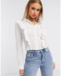Missguided Dobby Cropped Shirt With Frill Front - White