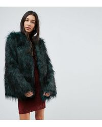 Noisy May Tall - Faux Fur Jacket - Lyst