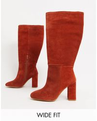 ASOS Wide Fit Comet Suede Pull-on Boots - Red