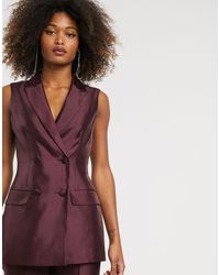ASOS Sleeveless Double Breasted Suit Blazer - Purple
