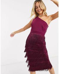 Lavish Alice One Shoulder Fringe Midi Dress - Red