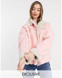 Reclaimed (vintage) Inspired Shearling Jacket - Pink
