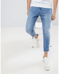 Stradivarius - Panelled Jeans In Light Wash - Lyst