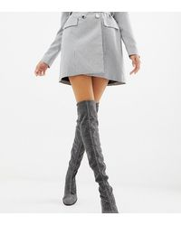 Monki Glitter Over The Knee Boots In Silver - Metallic