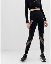 Ivy Park Active - Legging Met Ronde Breistructuur En Inzetstuk Uit Mesh - Zwart