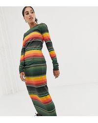 House of Holland Sunset - Vestito a fascia a maniche lunghe in jersey a righe - Multicolore