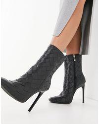 SIMMI Shoes Simmi London - Melina - Stivaletti con tacco neri intrecciati - Nero