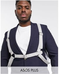 ASOS Plus Faux Leather Harness With Silver Diamonte Design - Multicolour
